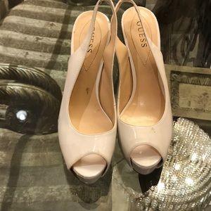 GUESS sling back peep toe heels